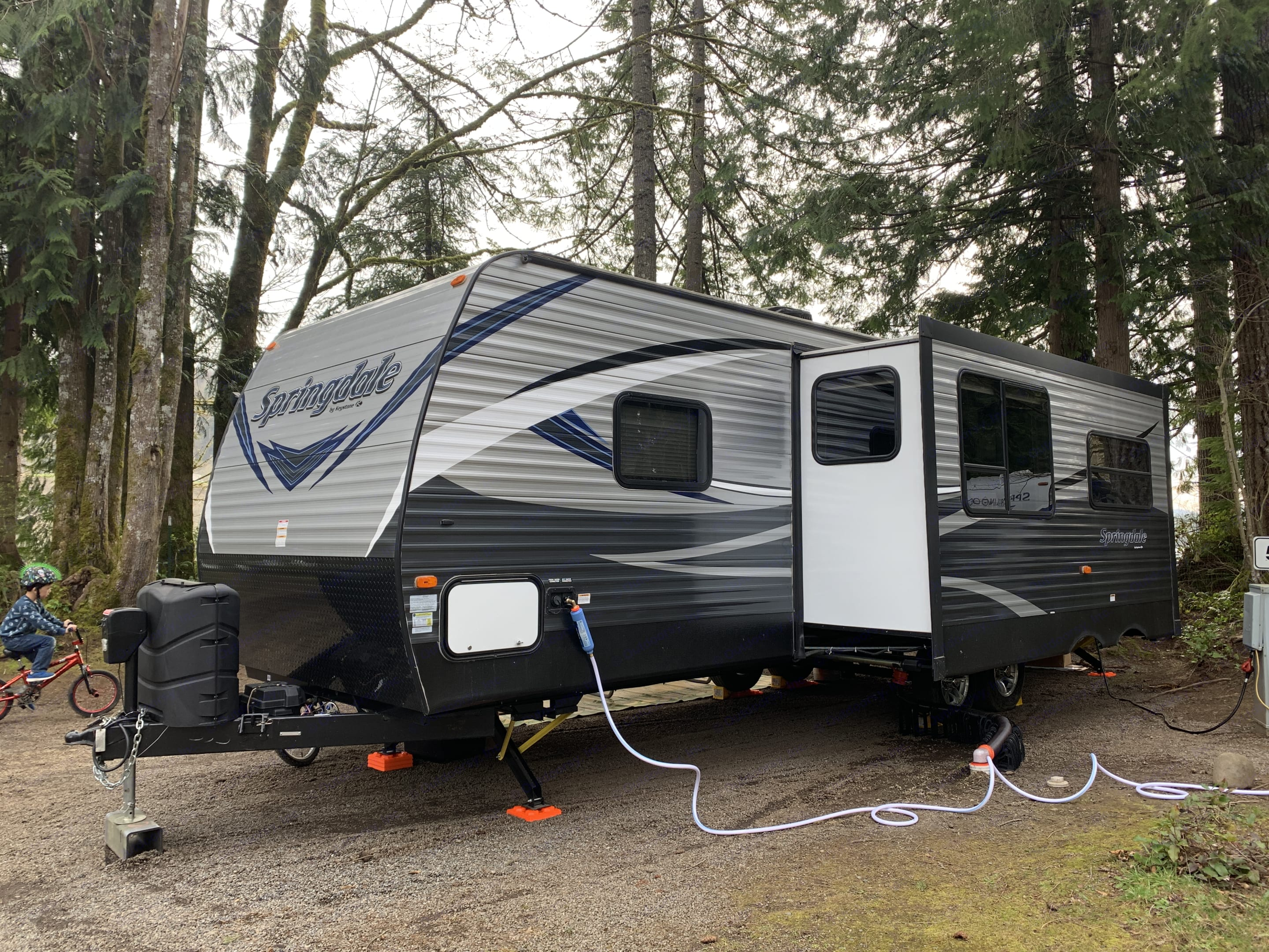 The other side of the rig showing the hookups.. Keystone Springdale 2018