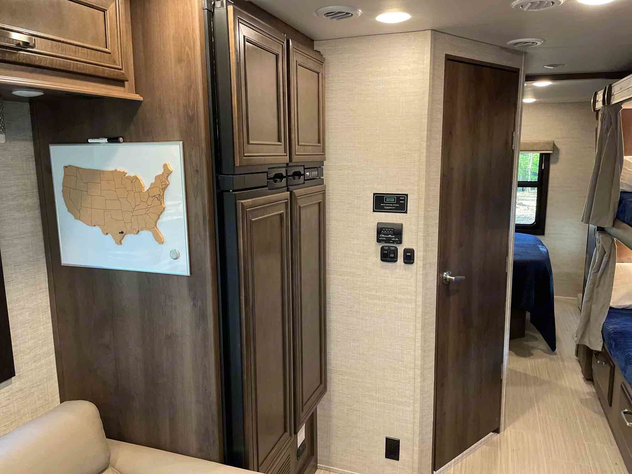 Take lots of groceries in this oversized-RV fridge.  Double door and two freezers keep your food cold.  Runs on Propane or Electricity.. Entegra Coach Other 2021