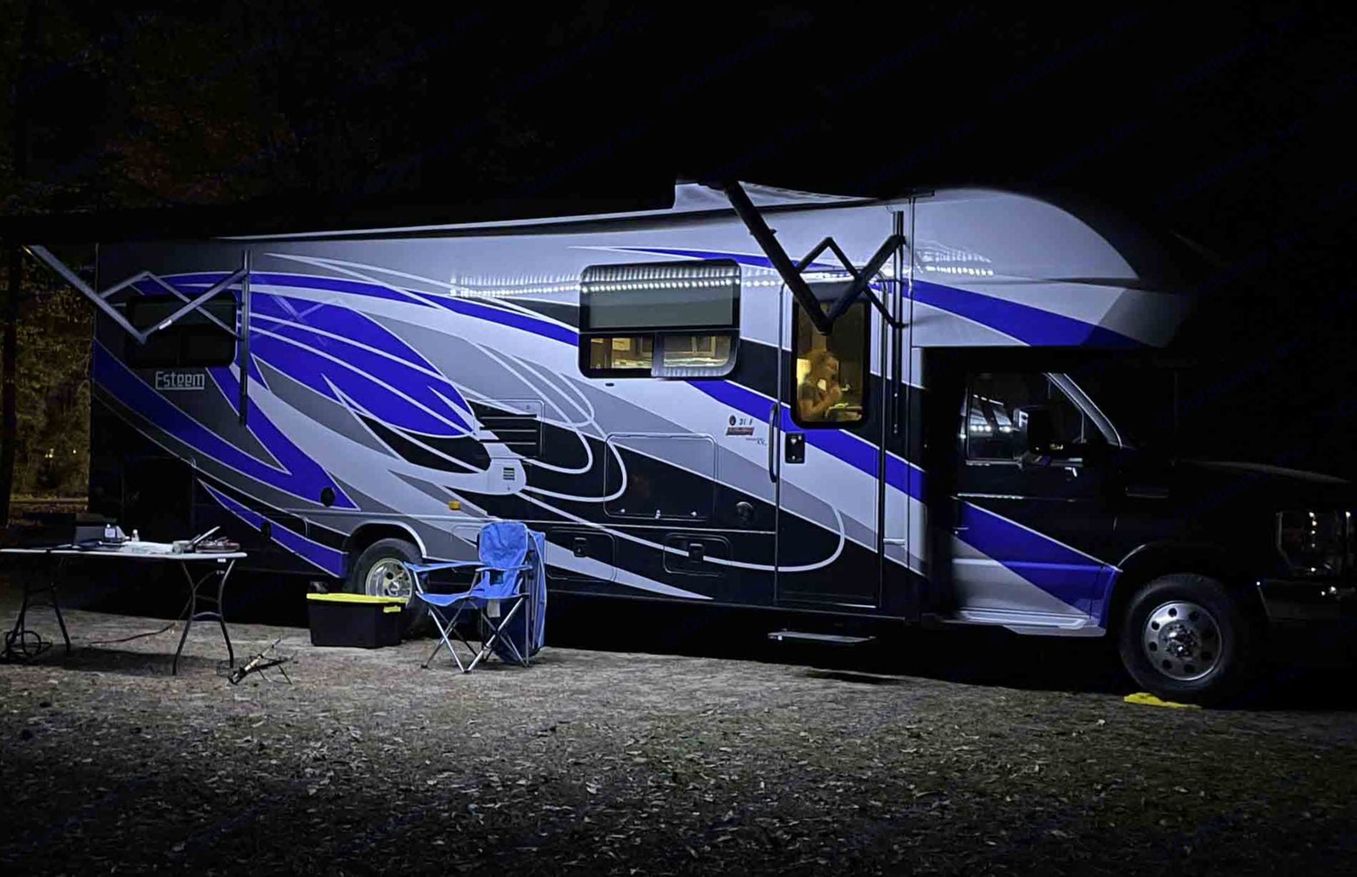 With the awning extended with the LED lights, the RV looks great even at night!. Entegra Coach Other 2021