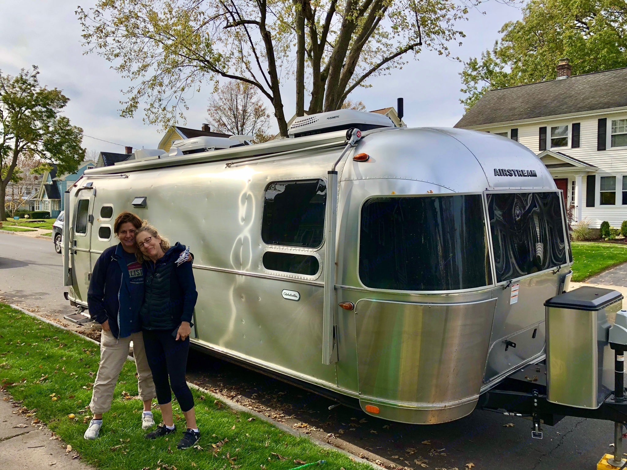 Parked in front of a friend's place on the East Coast after our first cross country journey. Airstream Globetrotter 2019