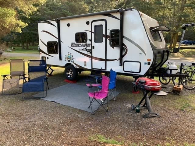Camper, two recliners, two folding chairs, grill. Optional bike rack.. K-Z Manufacturing Escape 2018
