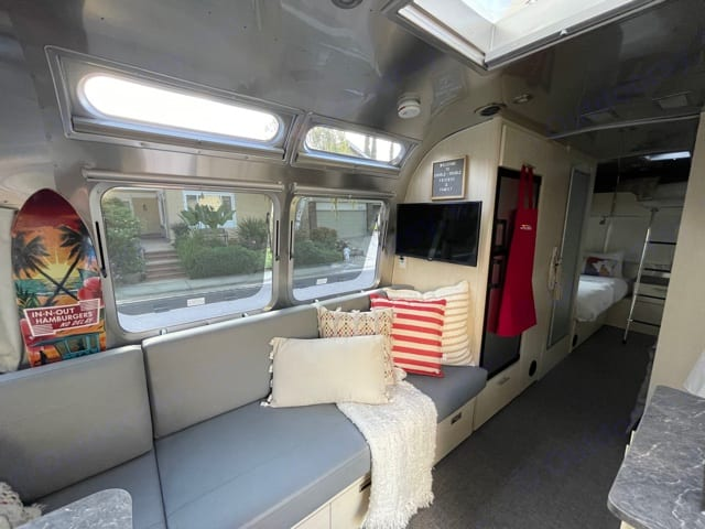 Two fantastic fans A/C and Furnace Shades and curtains for privacy. Airstream Flying Cloud 2021