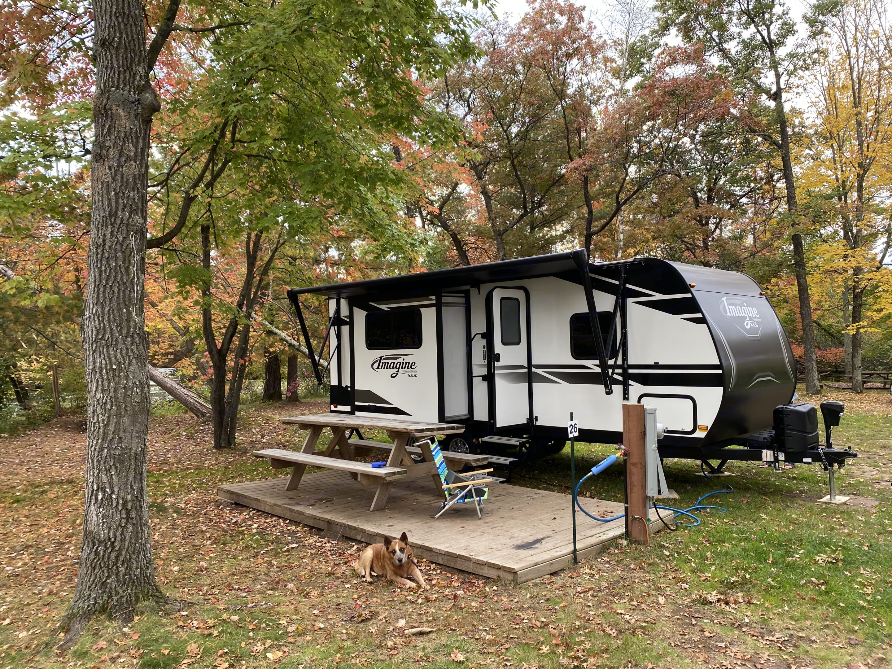 Easy access to Campsites.  Awning extends for rainy days.. Grand Design 22RBE 2021