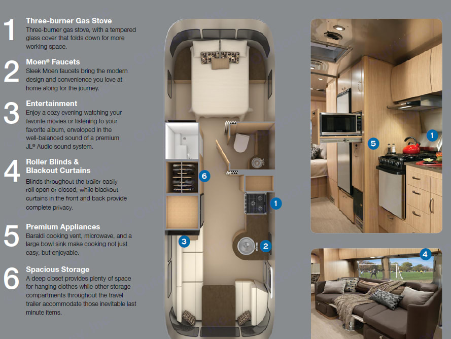 Floor plan shows queen bed, fold out double on lower left and convertible dinette at bottom. Actual queen is placed across master room.. Airstream Flying Cloud 25ft 2020