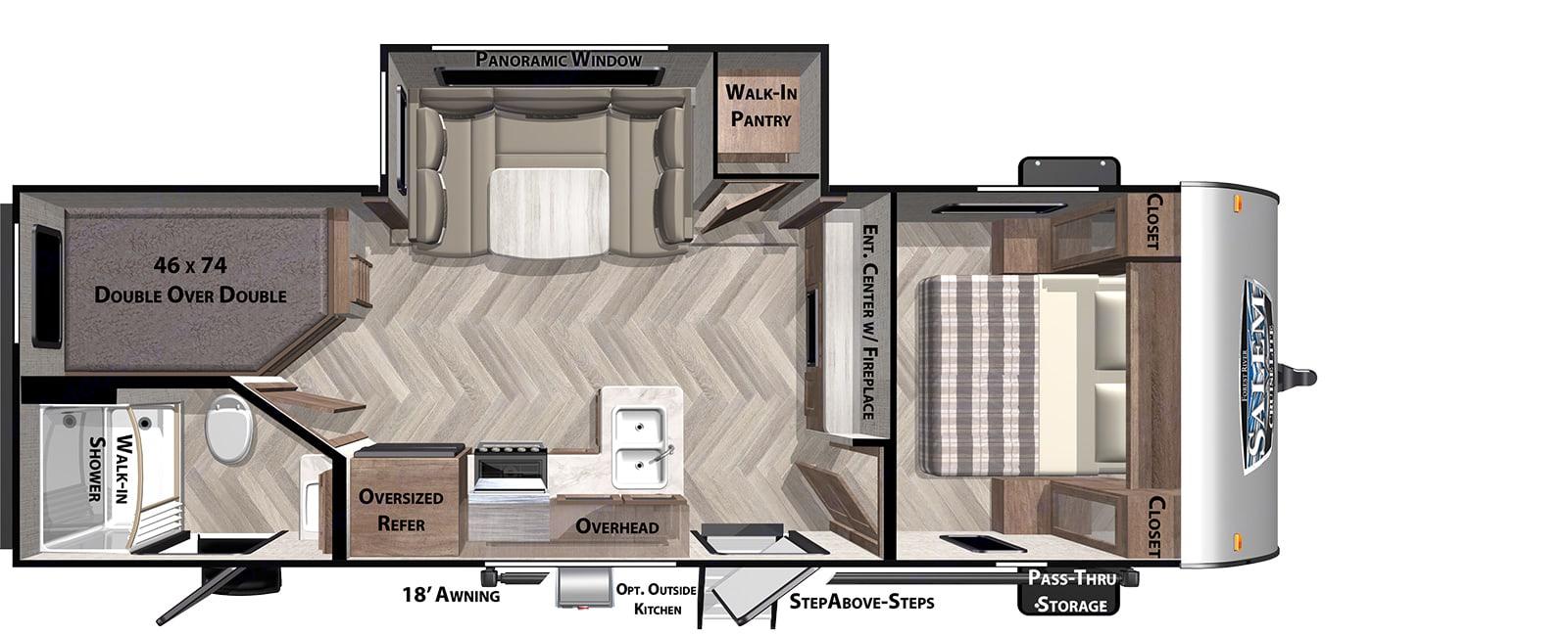 Floorplan including side popout. Forest River Salem Cruise Lite 2020
