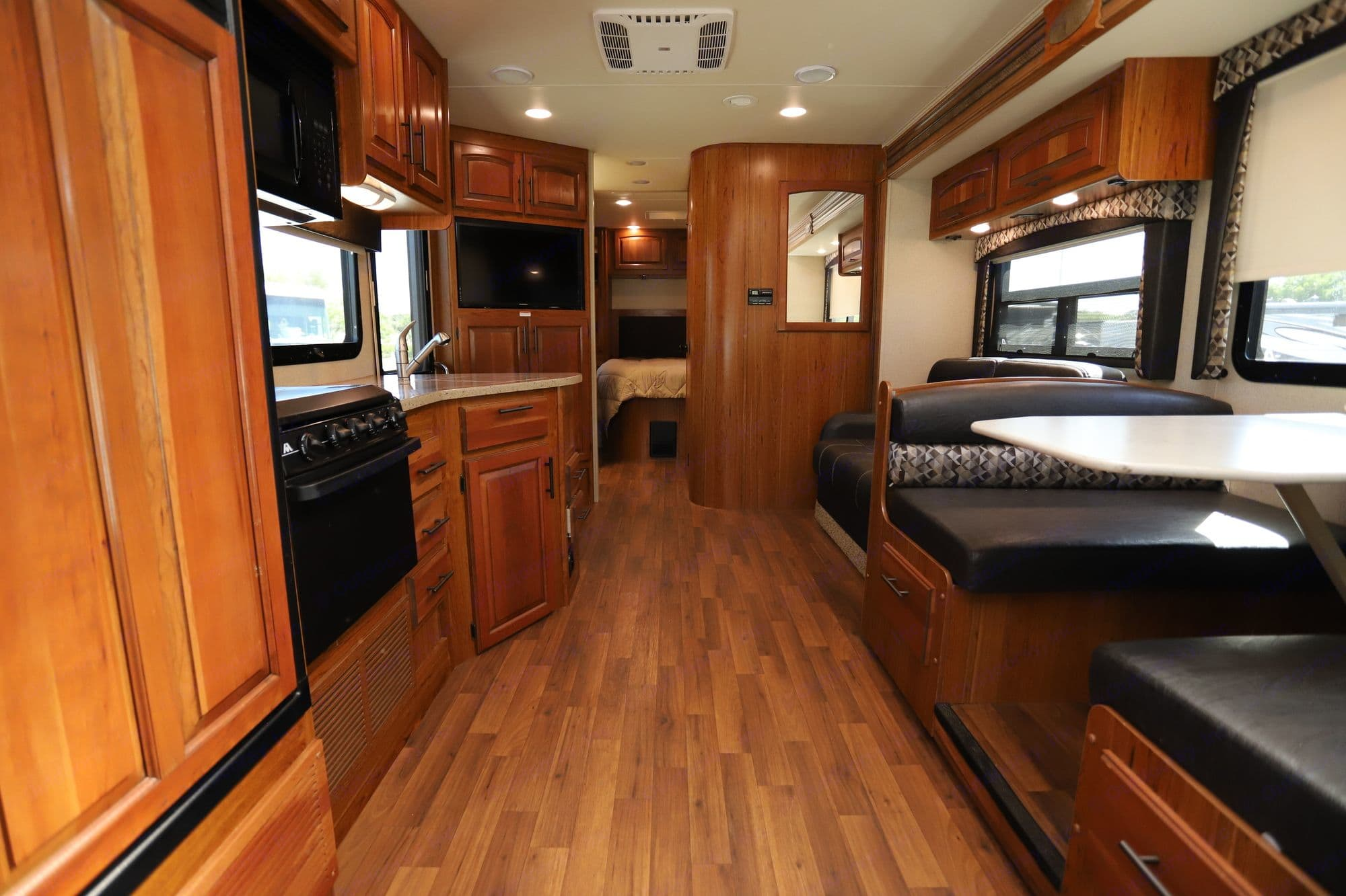 View of interior living space from the cockpit. Plenty of room to move around with and without the slide extended!  (slide is extended in photo). Jayco Greyhawk 2017