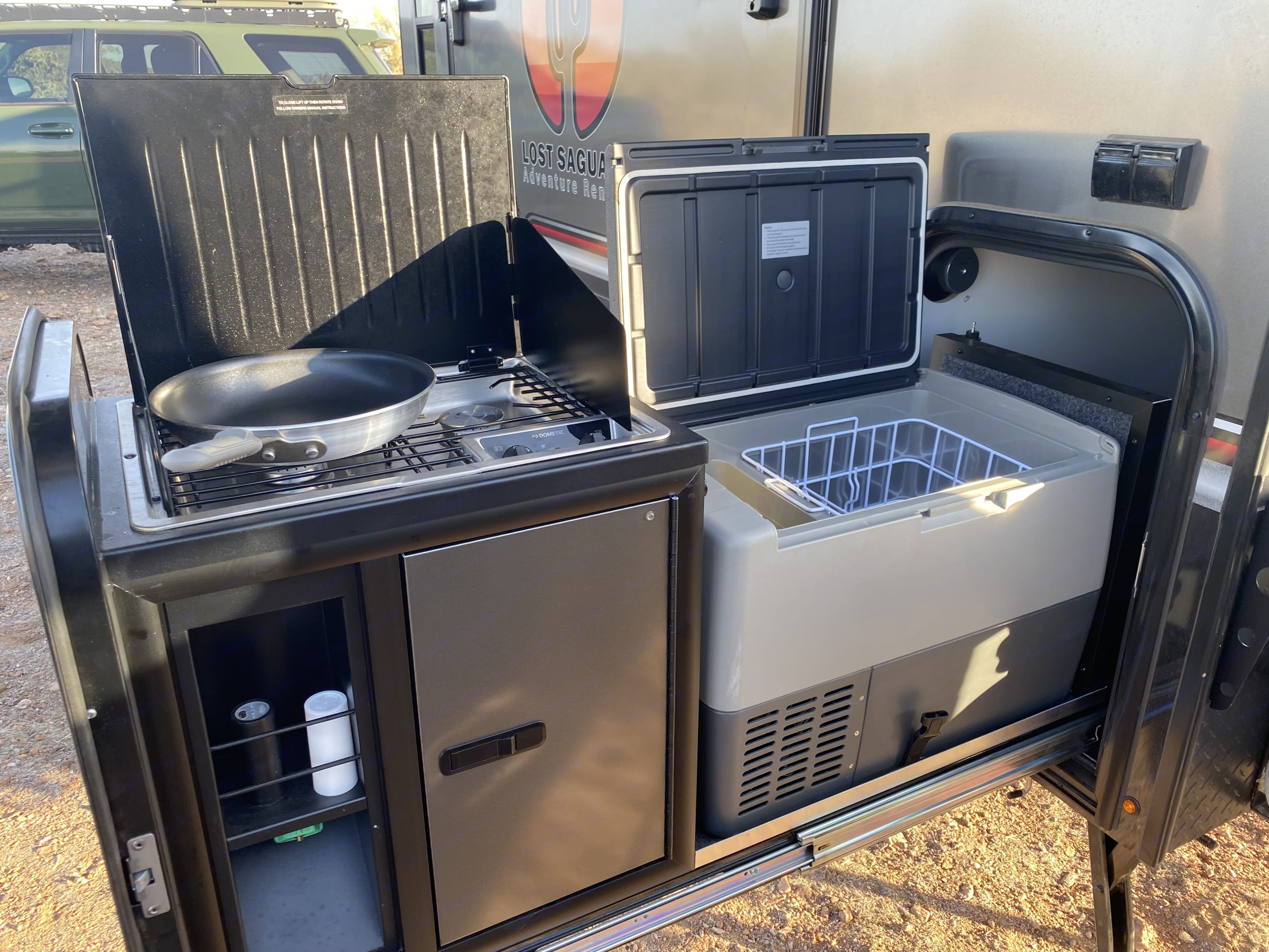 Dual propane cook top, and large reach in cooler and freezer. InTech RV Explorer 2019