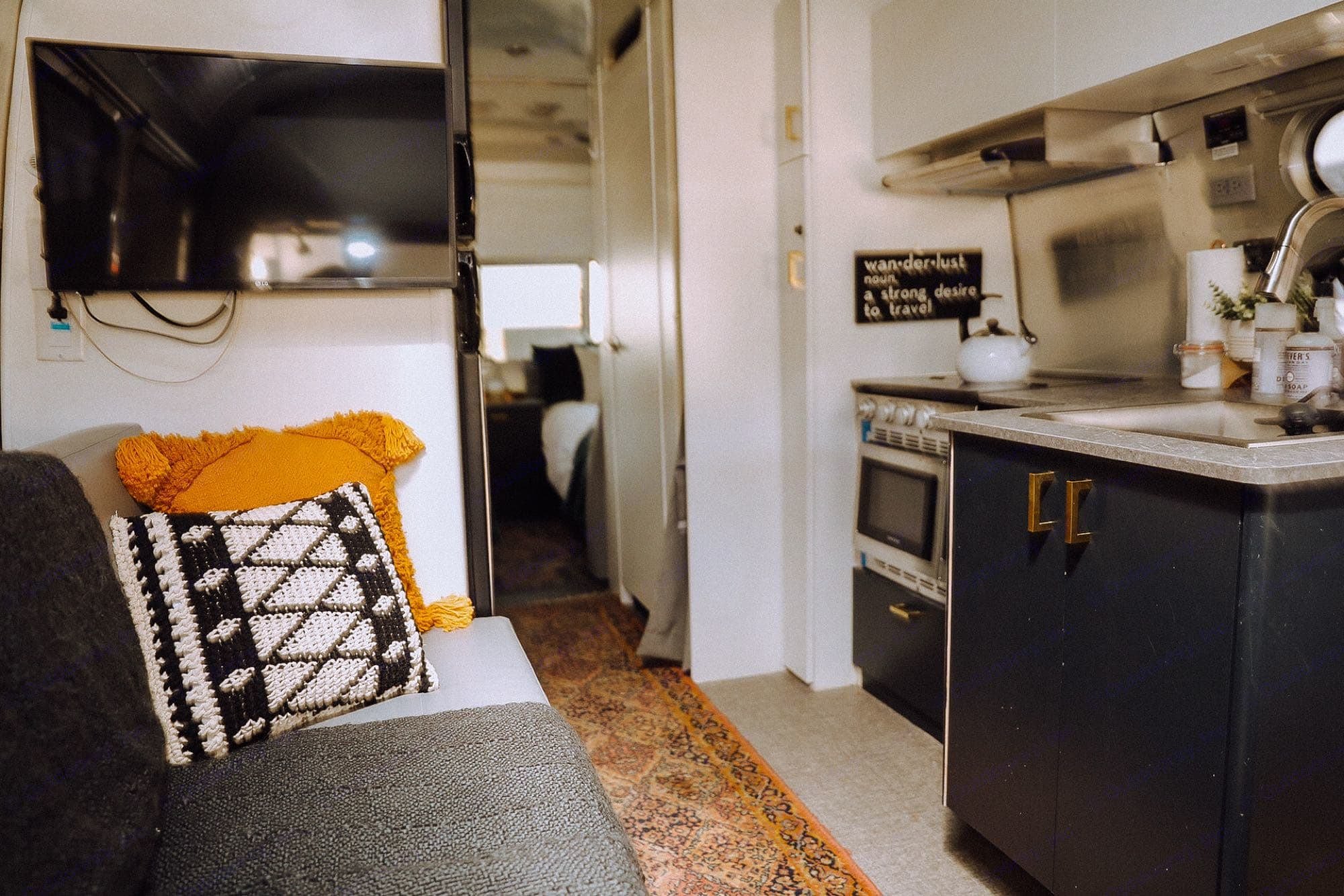 There is a TV in the bedroom as well.. Airstream Flying Cloud 2021