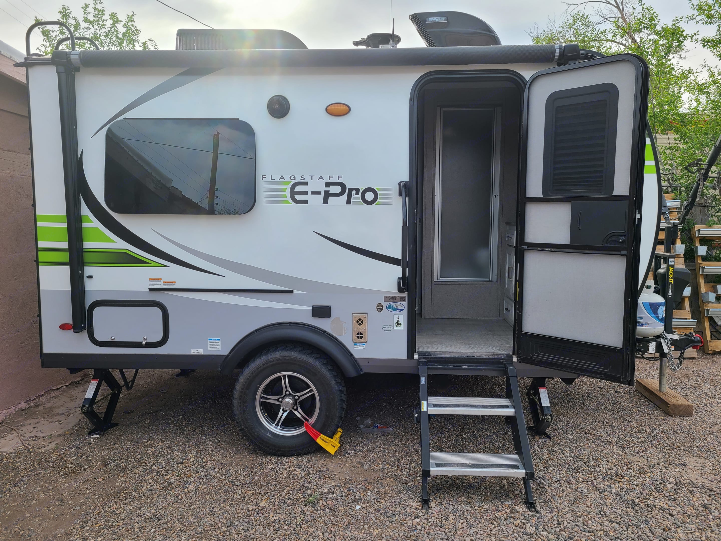 The 2020 E-pro with offroading package, bike rack, and complete off-grid capabilities including a hot water heater and outdoor shower.. Flagstaff E-Pro 2020