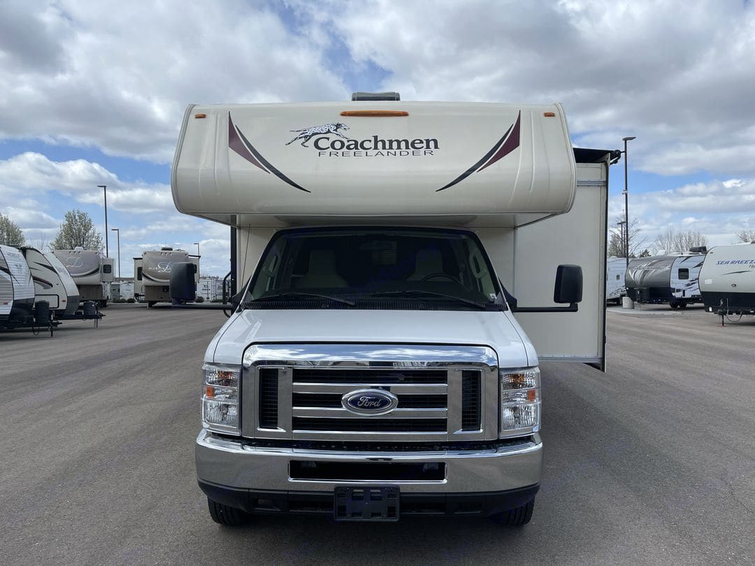 Look at RV with interior Cab fully extended . Coachmen Freelander 2018