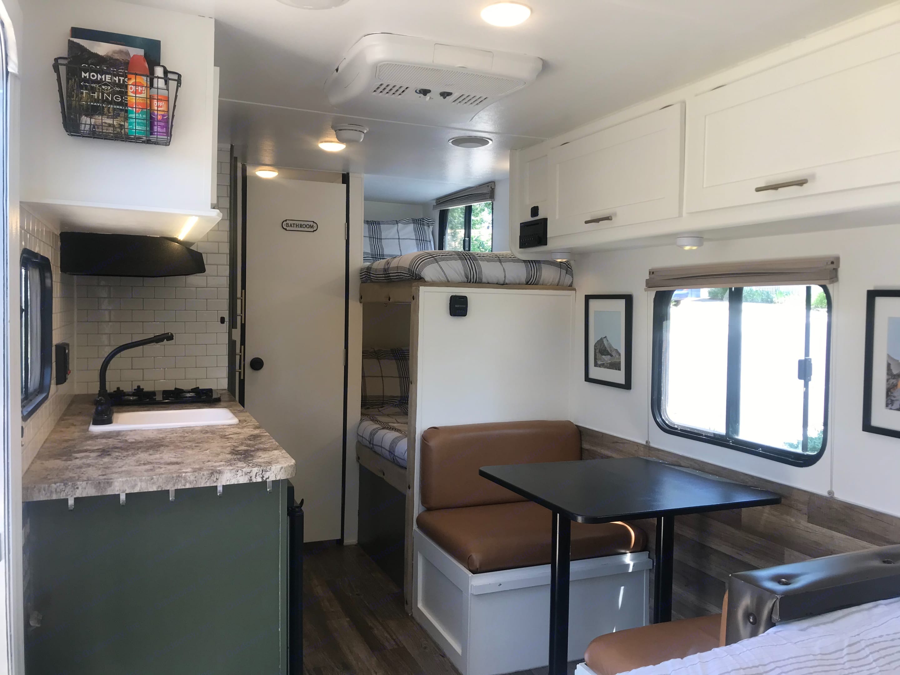 We absolutely love this layout! Everything flows nicely, there is plenty of room to be comfortable and all the comforts of home. . Forest River Wolf Pup 2016