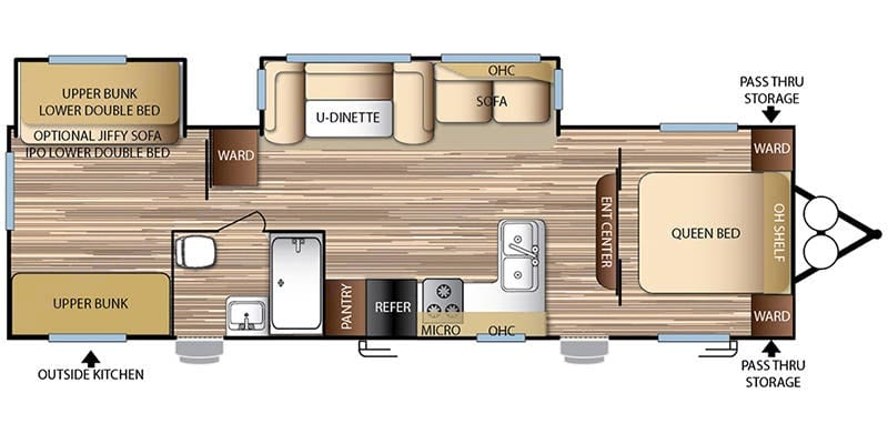 Large Floorplan, 2 separate Rooms. Forest River Evo 2017