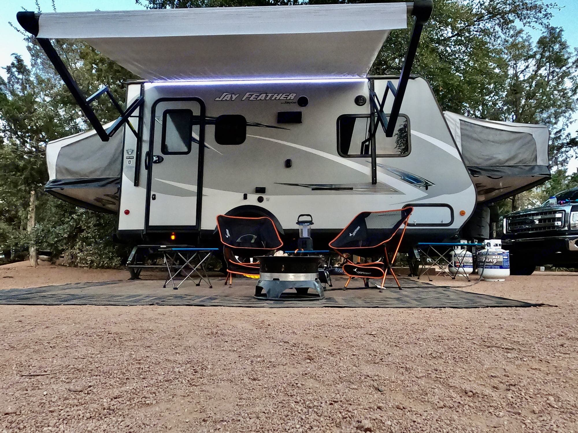 Fire pit is an add on and outdoor rug not included.. Jayco Jay Feather 2017