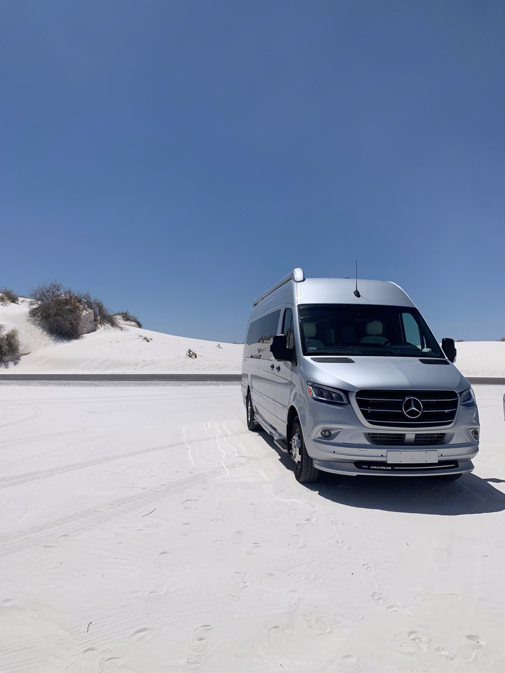 White Sands National Monument in New Mexico. Airstream Interstate 3500 EXT GL 2021