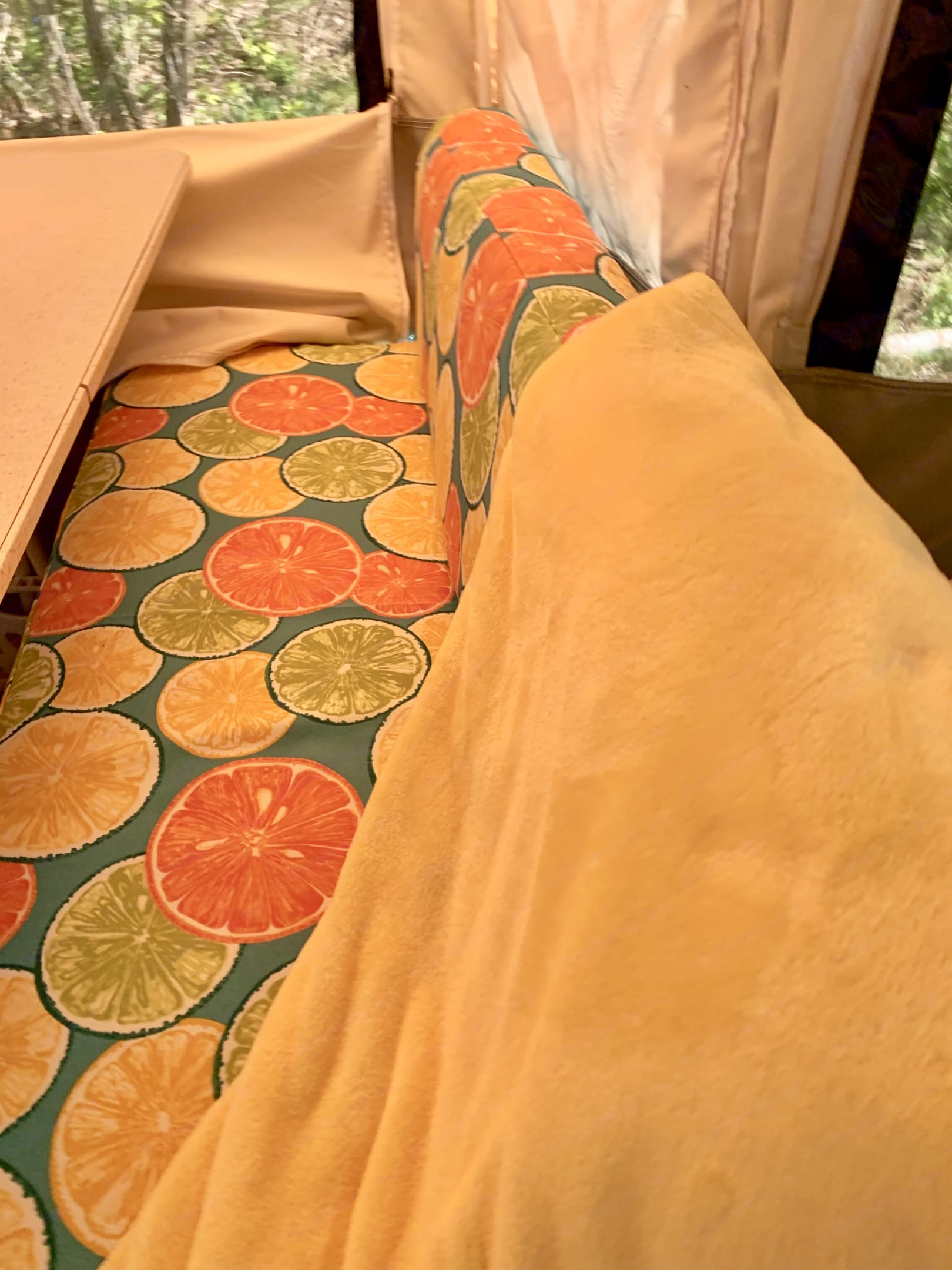 All of the cushions are reversible to a solid color on the back side and have extra batting for comfort.  Super soft & comfy throw blankets included.. Flagstaff 228D 2007