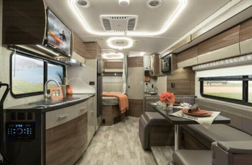 Beautiful floor plan with a slide out that give room to move around freely.  U-shaped dinette that seats 5-6 people comfortably.. Winnebago Mercedes Navion 2019