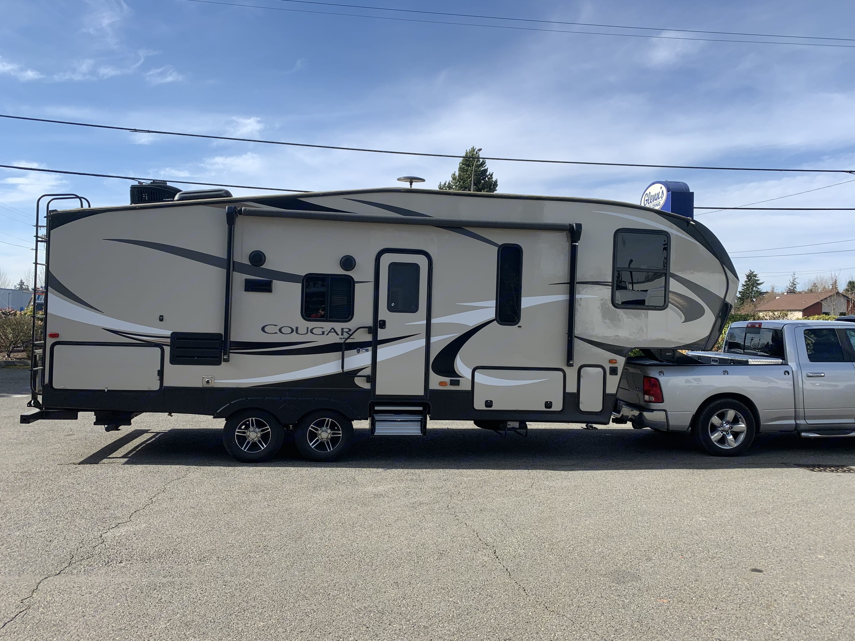 BBQ and small refrigerator unit on the back end.. Keystone Cougar Half-Ton 2018