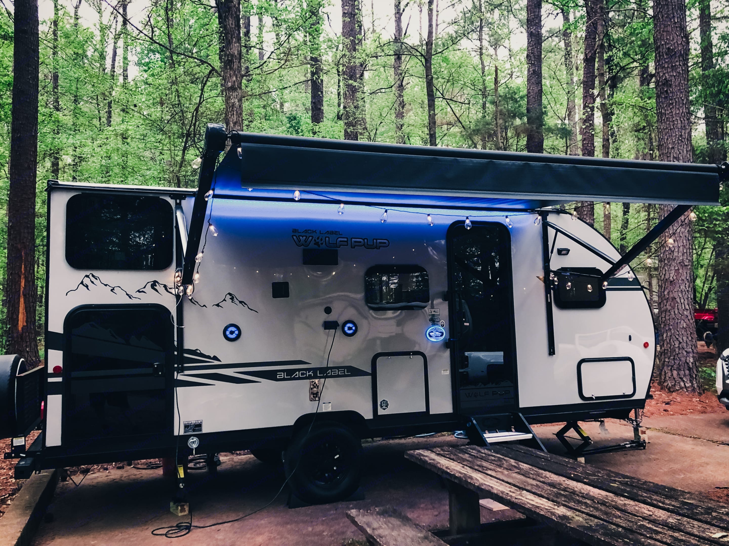 With a HUGE electric awning you can hang out in the shade no matter where you are.. Forest River Cherokee Wolf Pup 2021