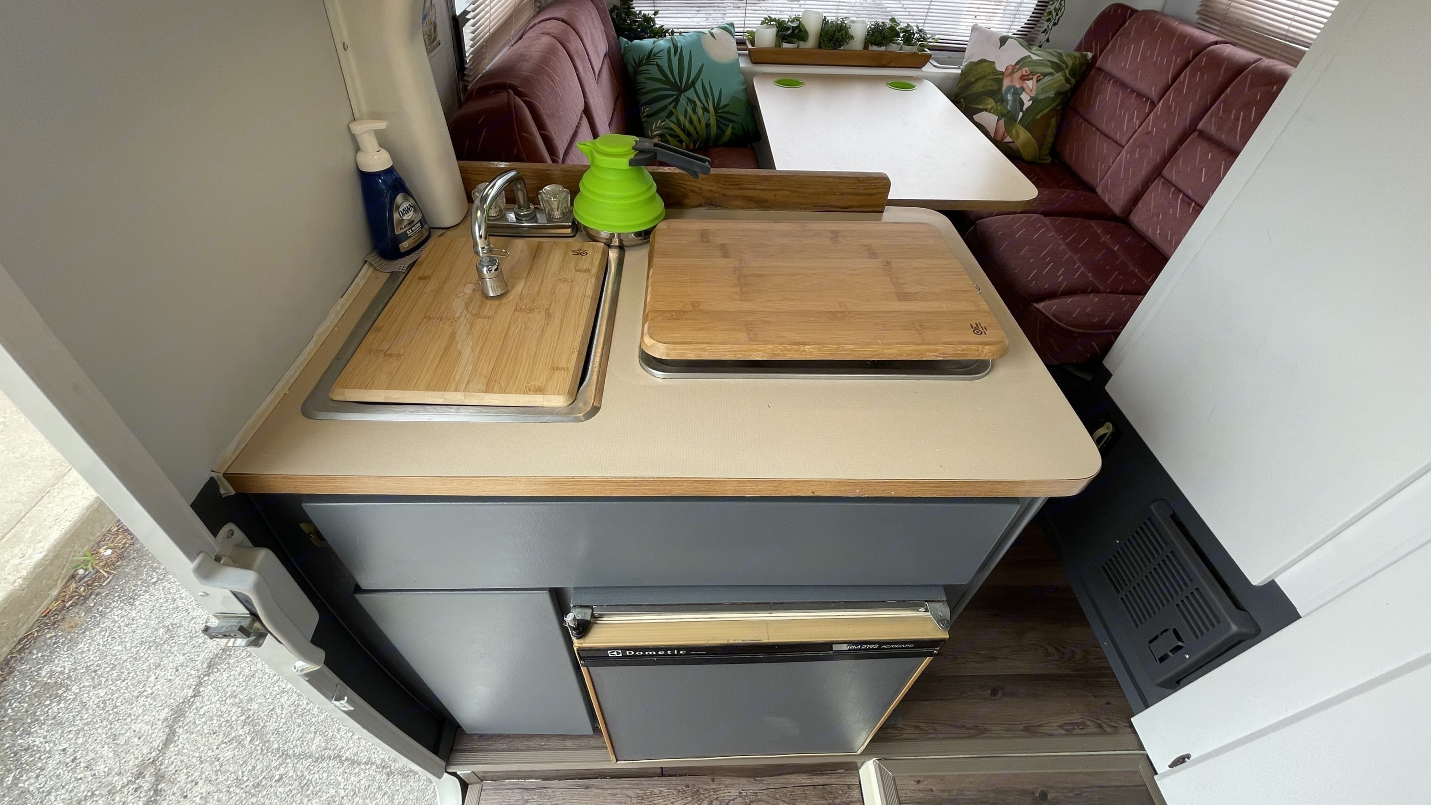The kitchen may be small, but it works great!. Winnebago LeSharo 1988