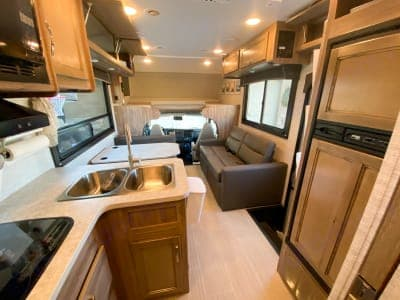 The view of the cabin walking out of the master bedroom/bathroom.. Jayco Redhawk 2021