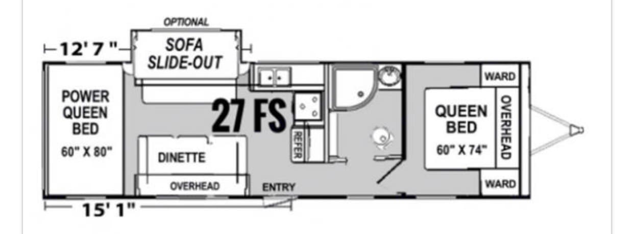 Spacious floor plan with 15' garage. Rear bunks are powered and store up out of way . Genesis Supreme Rv Fs27 2019