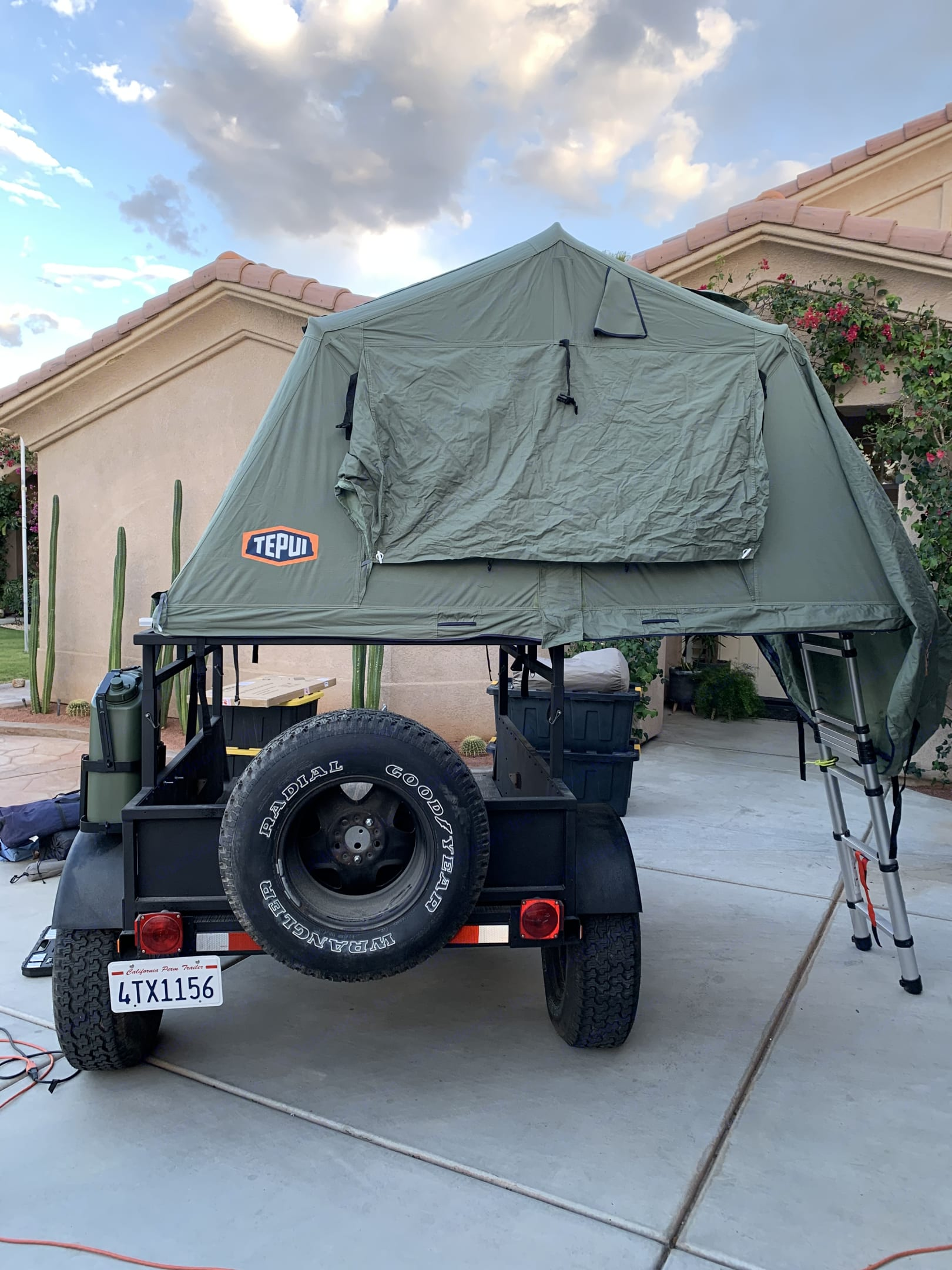 Tepui Double Rooftop Tenet extended with Ladder. Tepui Rooftop Tenet Overland -Utility 2020