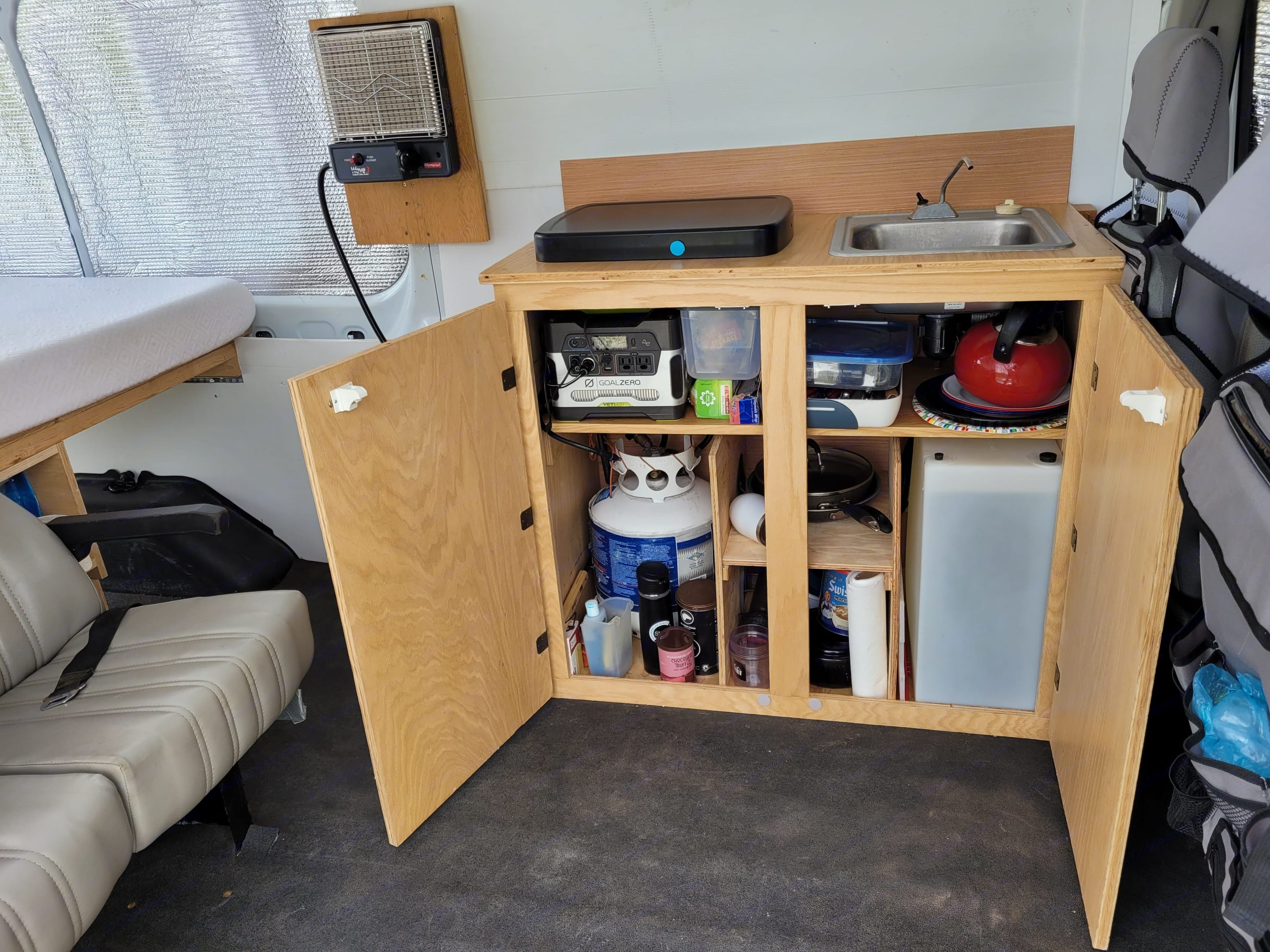 Kitchen Cabinet and all of the kitchen utensils.. Ford Transit 2015