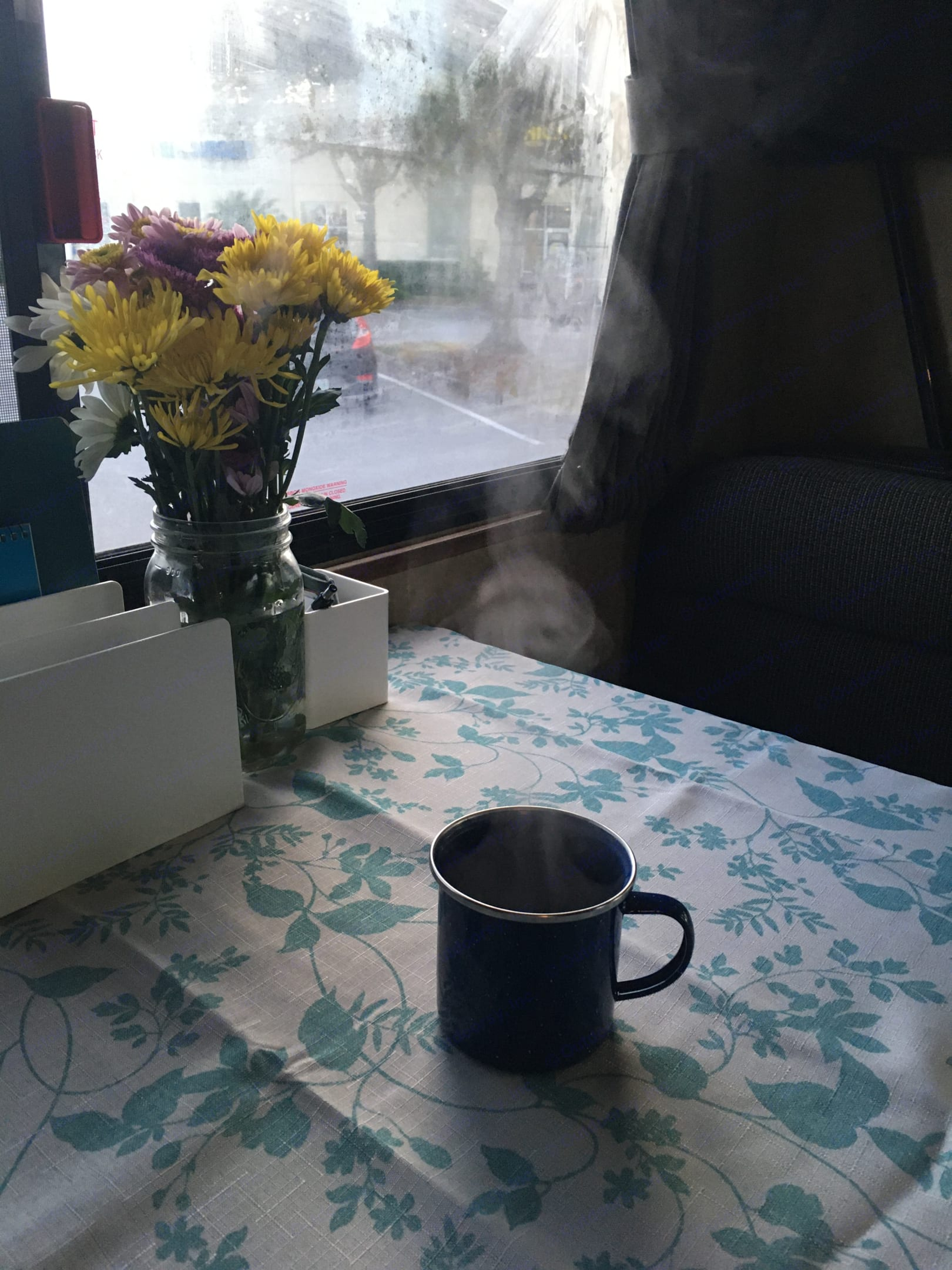 Thank goodness for coffee.  Trudy comes equipped with a percolator-style espresso maker for your caffeine convenience!. Thor Motor Coach Four Winds Majestic 2016
