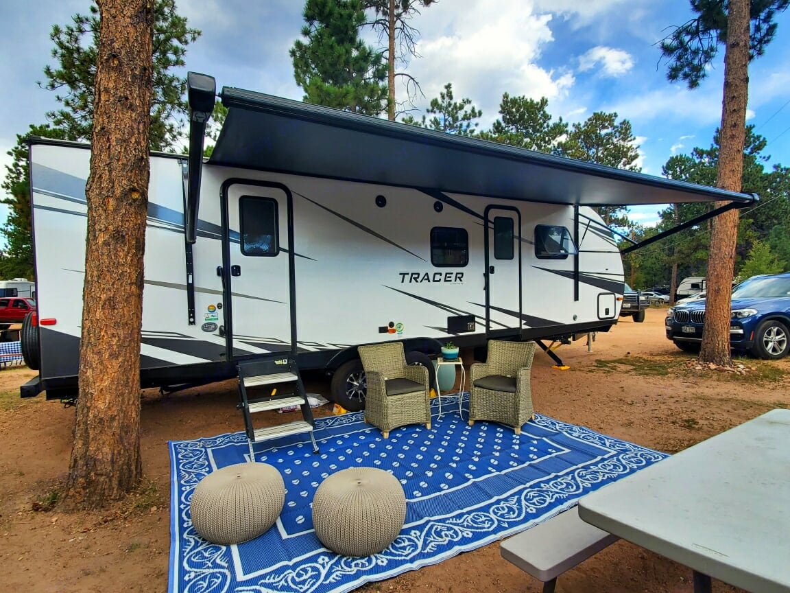 Very nice exterior with LED lights under the awning. Bluetooth speakers can play music indoors & outdoors. . Forest River Tracer 2021