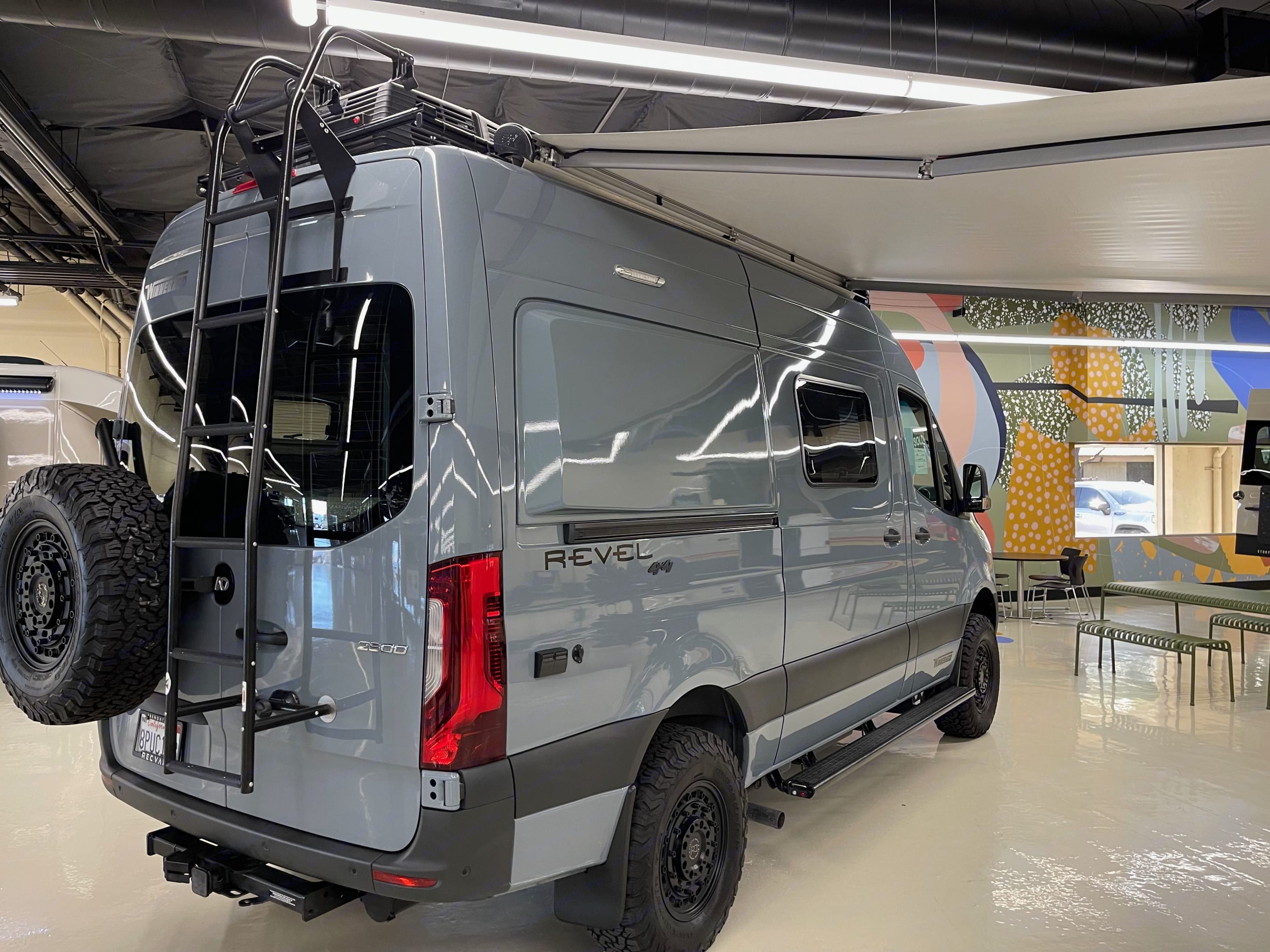 Here Is Our Revel Right Before We Drove It Off The Show Room Floor. Showing Ladder and Mounted Spare Tire.. Winnebago Mercedes 2020