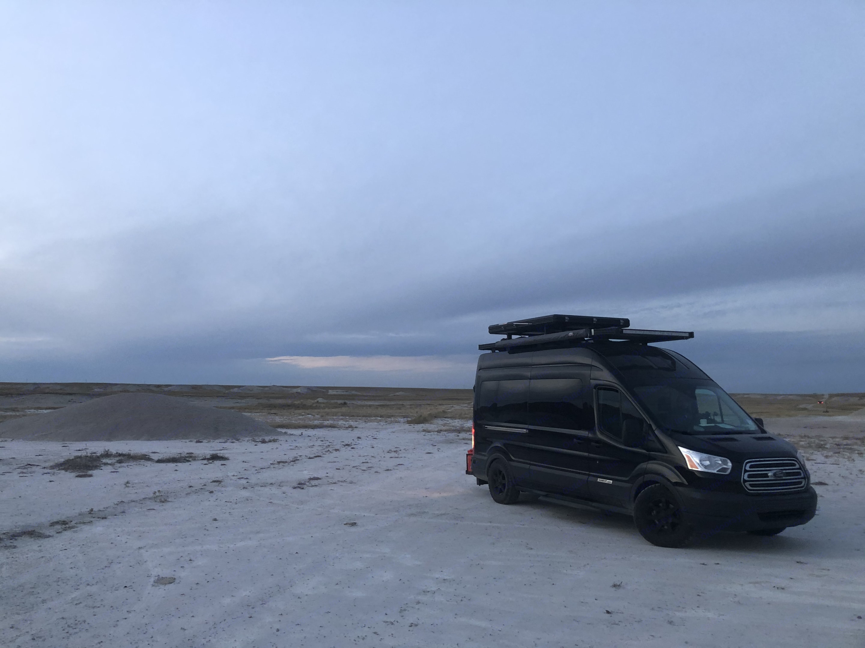 One of our favorite nights in National Grasslands just outside of Badlands National Park. It felt like we were camped on the moon!. Ford Transit Custom 2017