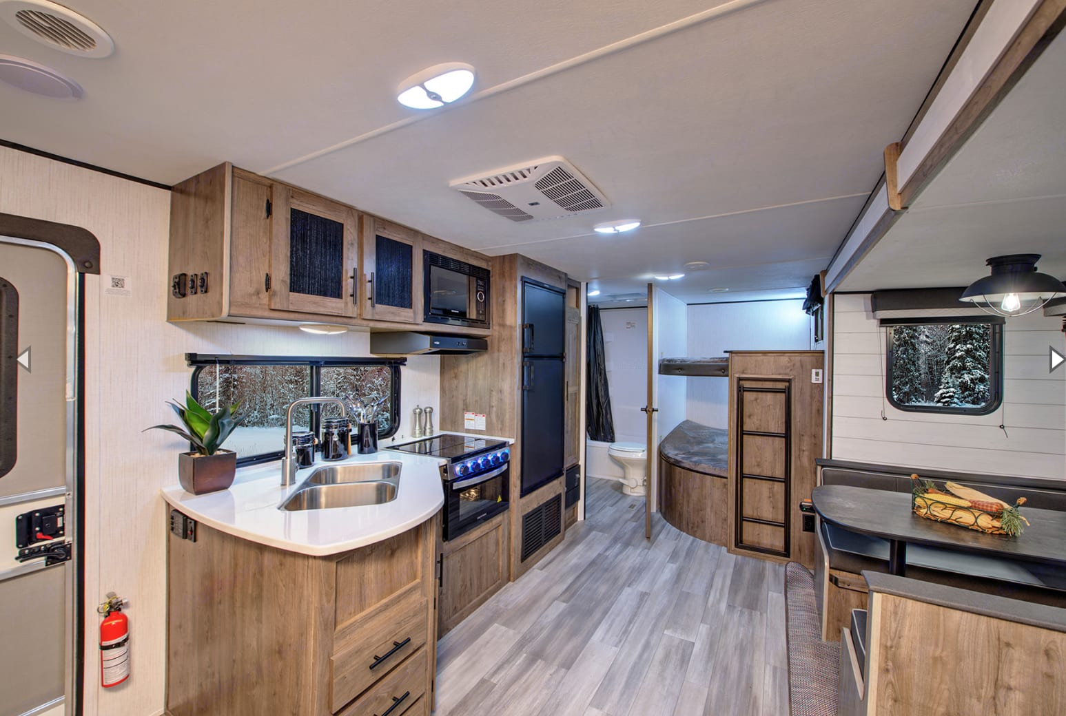 Very spacious interior with the slide out. Kitchen offers everything one could need while away from home. Heartland Pioneer 2021