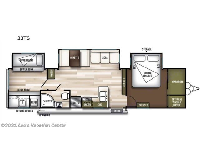 Floorplan, includes stacked washer/dryer. Forest River Wildwood 2020