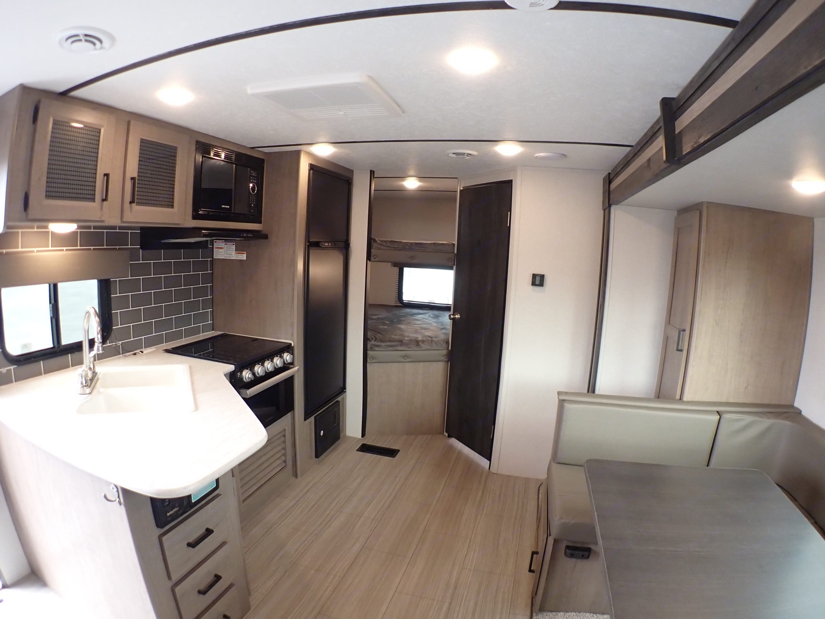 Full Size Bunk Beds. Space and storage all around. Keystone Hideout 2021