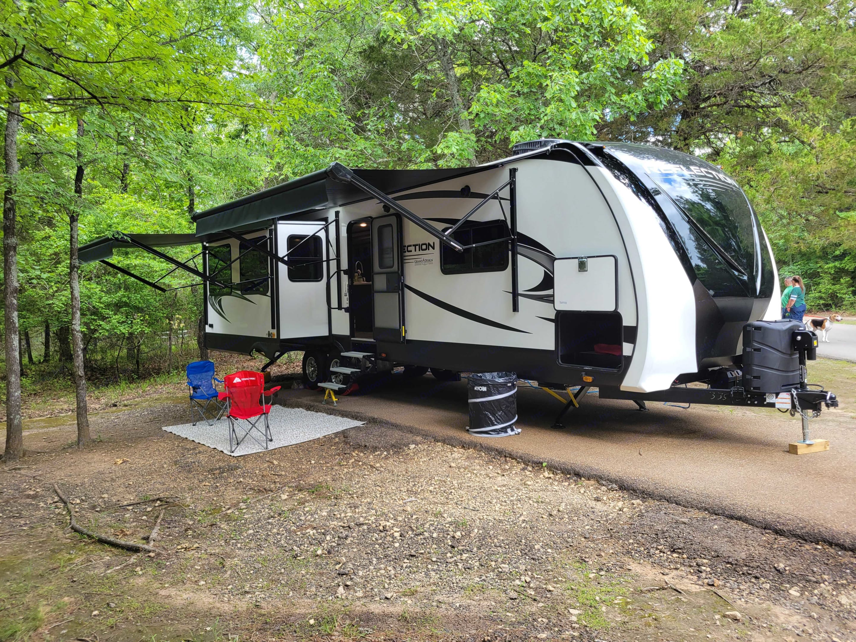 Campsite at Purtis Creek State Park Tx.. Grand Design Reflection 2021