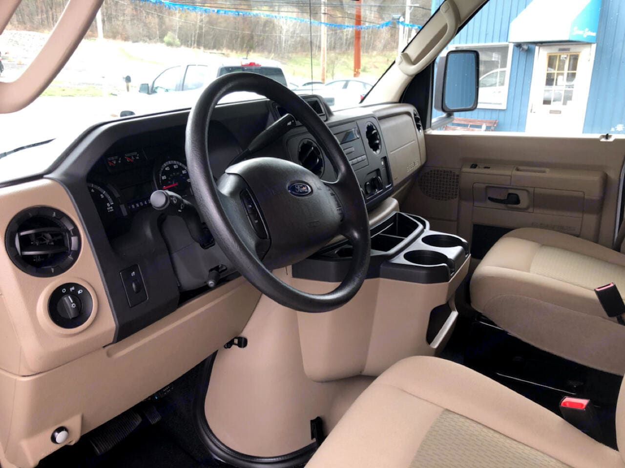 Comfortable seating up front for driver and navigator. Jayco Redhawk 2017
