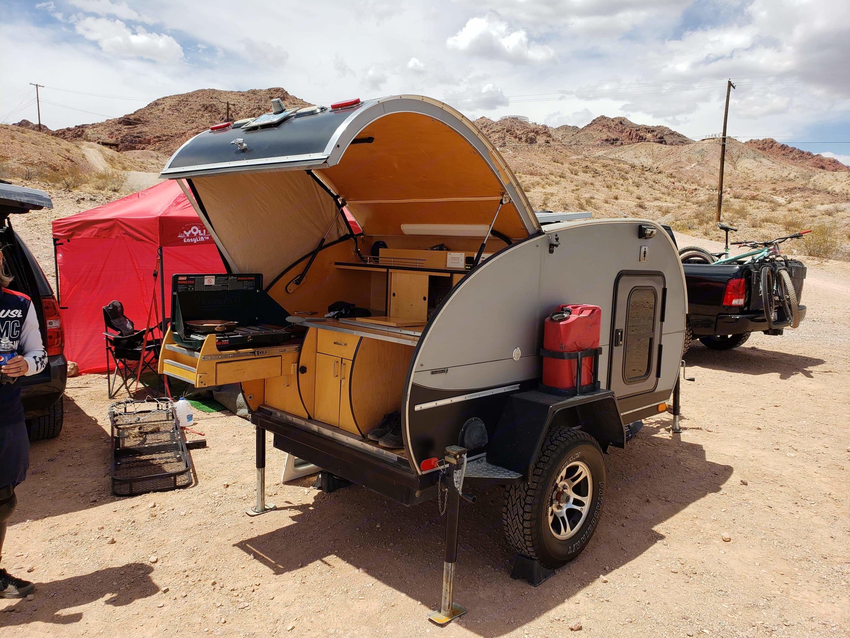 Equipped with either mini fridge or cooler depending on if you will have shore power or are dry camping/boondocking. Custom Teardrop Camper 2014
