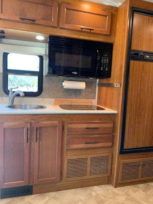 Micro/Convection oven, 2 burner stove, sink and refrigerator/freezer. Jayco Melbourne 2016