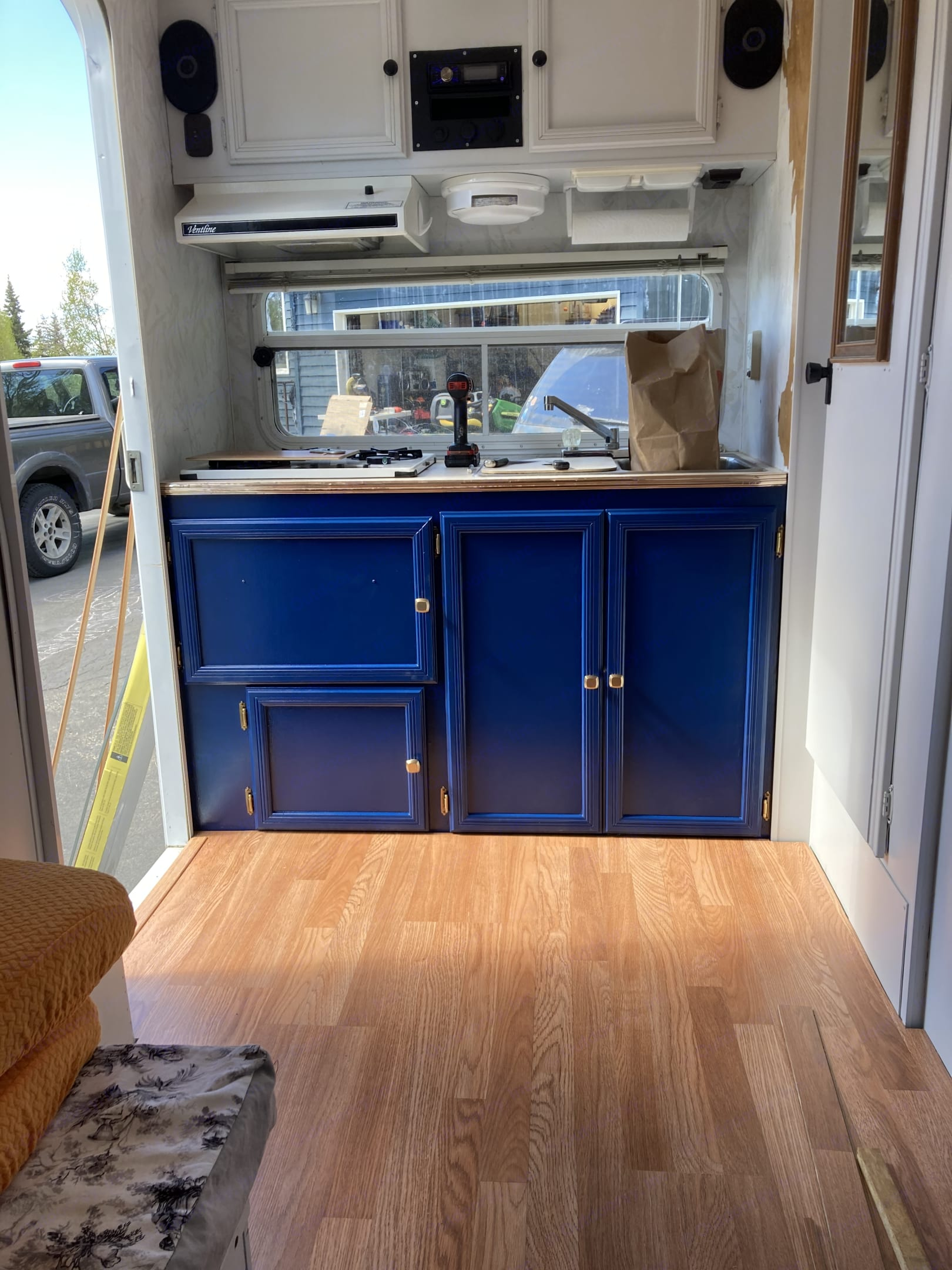 I am renovating right now. I'll update as I finish. Cabinets look beautiful! . Aerolite Travel Trailer 1996
