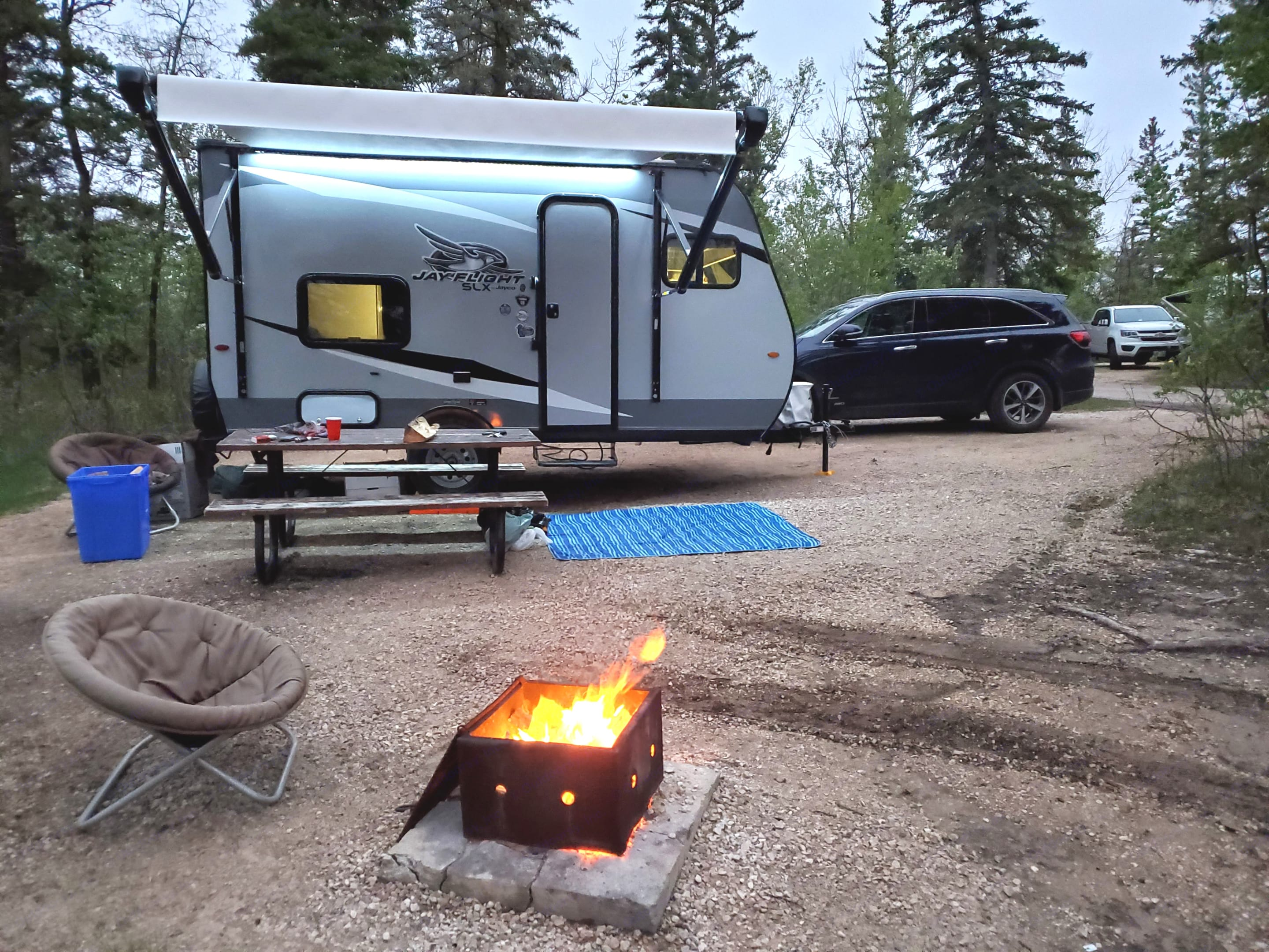 All set up for the evening, enjoying a fire.. Jayco Jay Flight 2021
