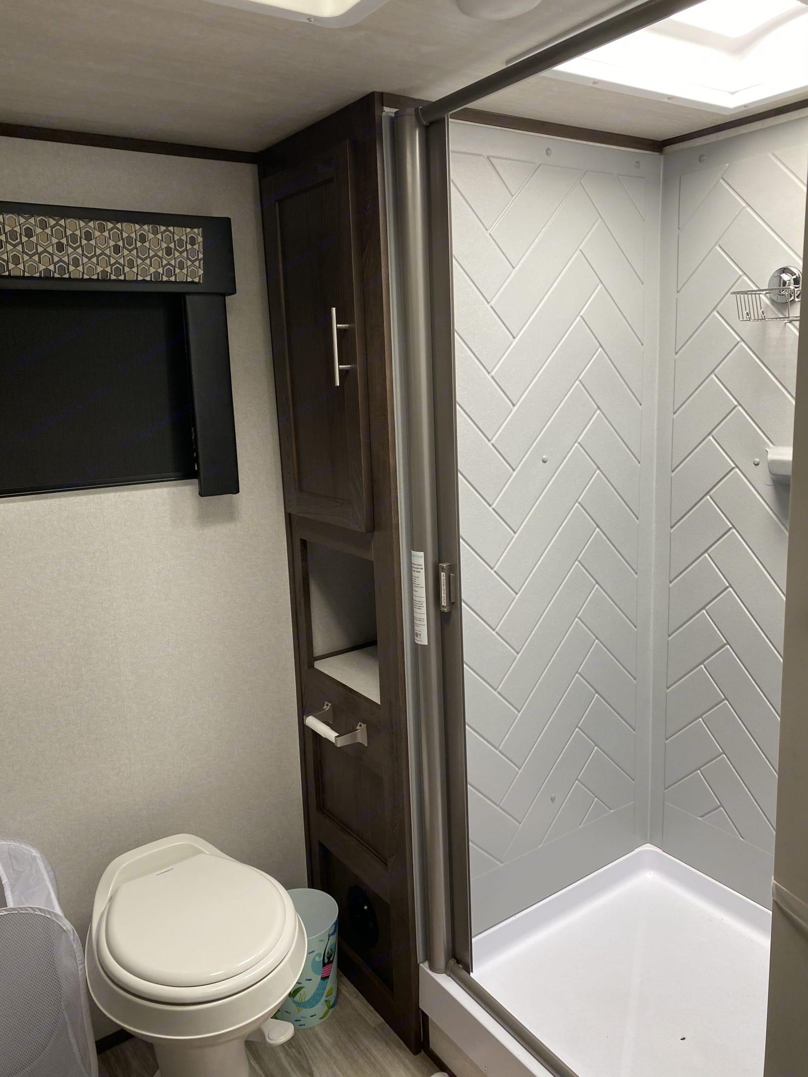 Large shower & Linen Closet. Forest River Salem Hemisphere 2020