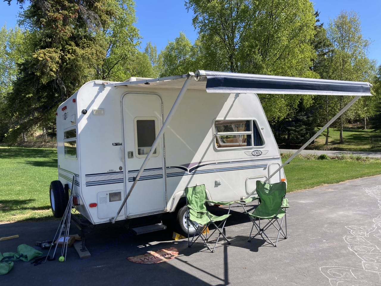 Two camp chairs included and I will show you how to operate the awning. . Aerolite Travel Trailer 1996
