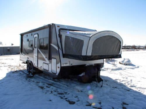 Exterior View of the King Bed 1 hanging over the Trailer Tongue Stock Photo. Jayco Jay Feather 2016