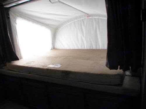 Bed 2 is another large tent style fold out bed, with upgraded memory foam mattress.  Stock Photo. Jayco Jay Feather 2016