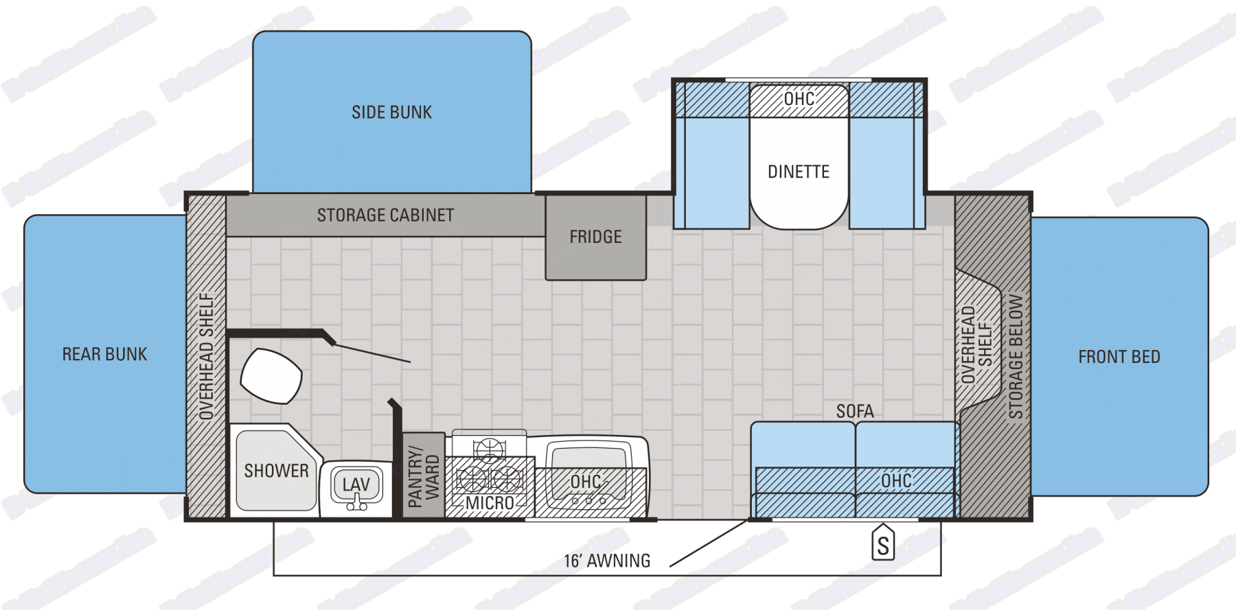 This floor plan shows you how much room the strong and comfortable fold out tent styles beds give this trailer.  Easily sleeping 8 adults. Jayco Jay Feather 2016
