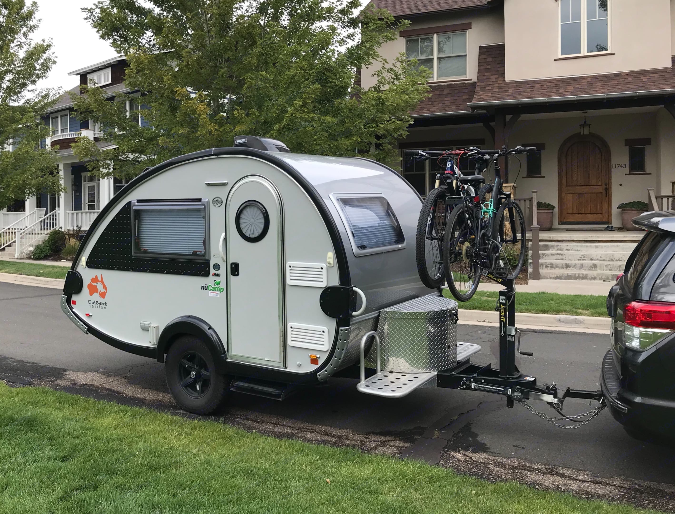 Two bikes fit on the bike rack above the hitch.. NuCamp Outback 2018