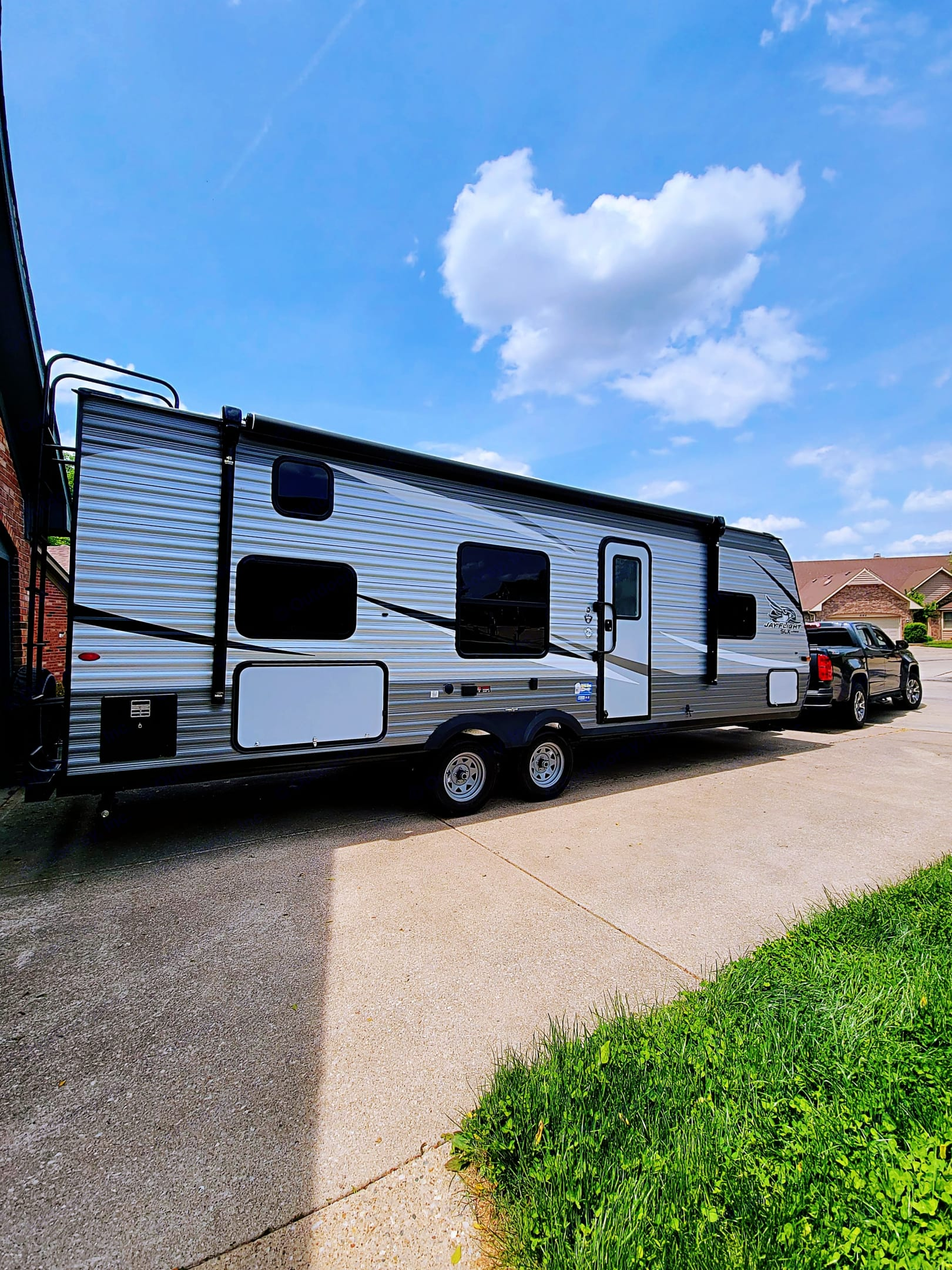 With a 16' awning, Bluetooth speakers, LED lighting, many large windows, and the entry door, this is the business end of the travel trailer.  . Jayco Other 2021