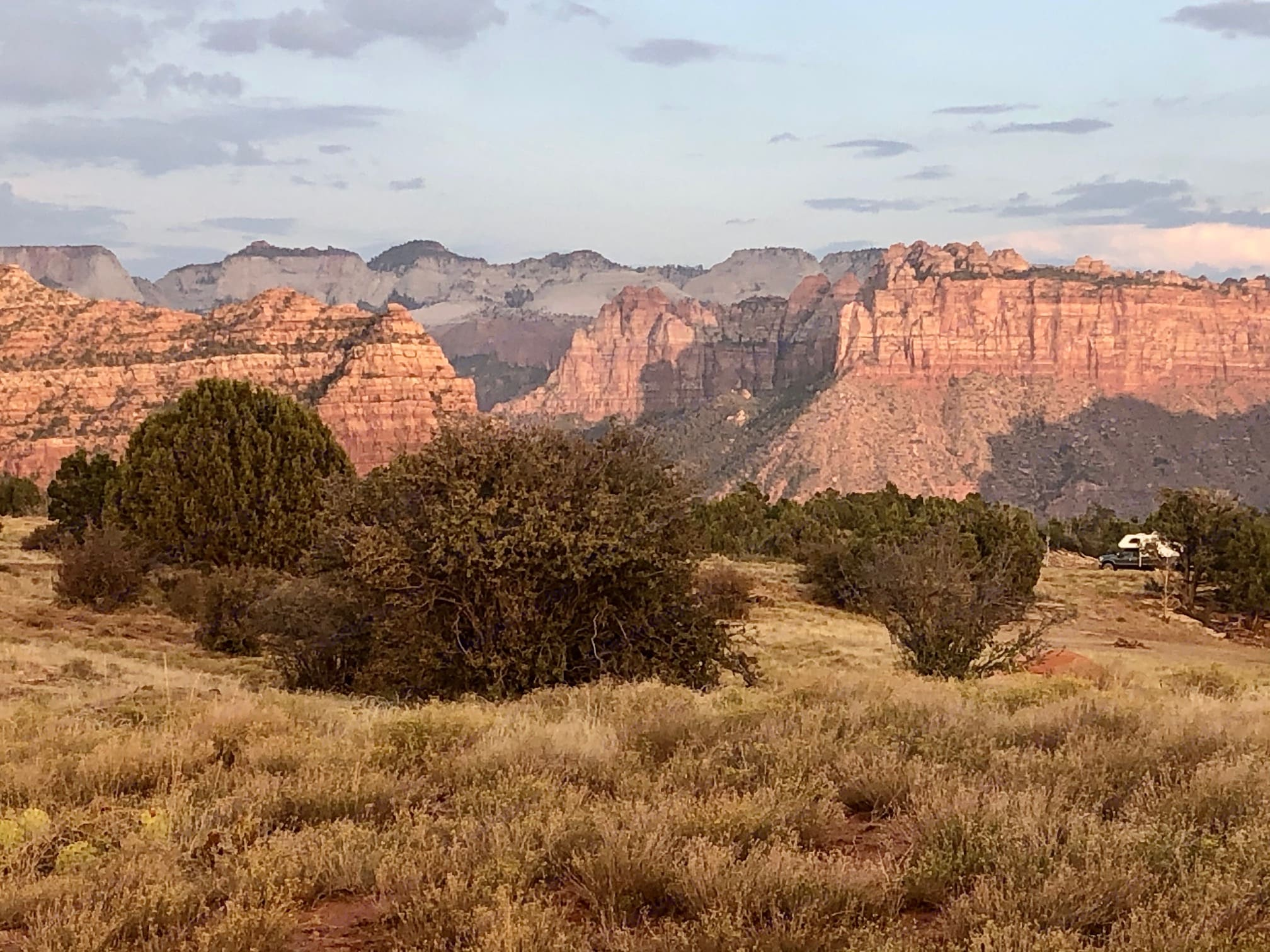 Our incredible view looking out towards Zion at sunset. Thor Motor Coach Tellaro 2020