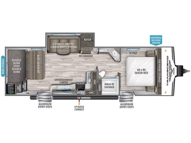 Layout of our RV. Ours includes the theater seating in place of the dinette set. This couch includes three seats, all of which recline. Grand Design Transcend Xplor 265BH 2021