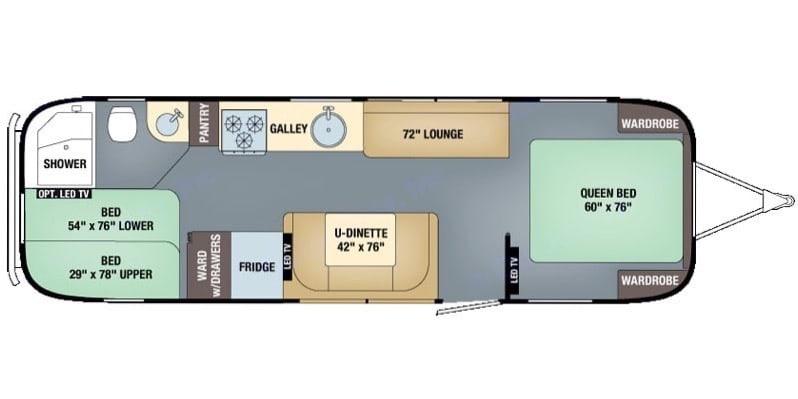 Floor plan. Airstream Flying Cloud 2016